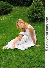 若い, 休む, 娘, 牧草地, 母