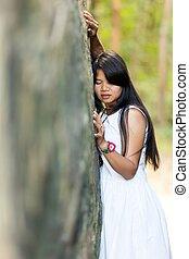 若い, 保有物, 岩, 女の子, に, タイ人