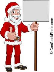 若い, 保有物, 漫画, santa, 印, クリスマス, claus