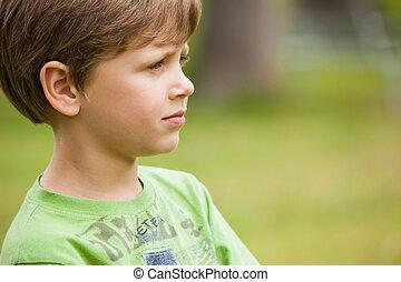 若い, 公園, 深刻, 男の子