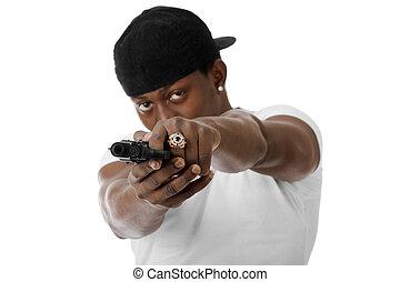 若い, 凶悪犯, ∥で∥, a, 銃