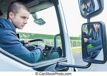若い, 労働者, トラックを運転すること