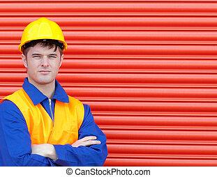 若い, 労働者, 身に着けていること, a, hardhat