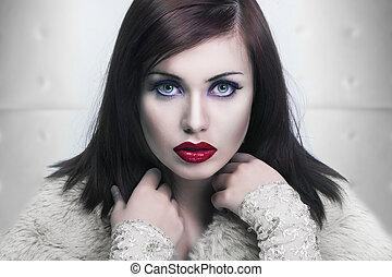 若い, 唇, 肖像画, 寒い, 女性, 赤