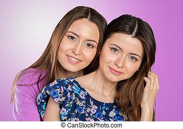若い 大人, 混合された 競争, sisters/, 友人, 肖像画