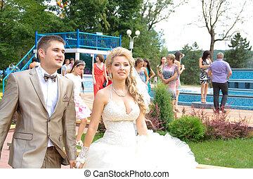 若い, 夫婦, 中に, ∥, 婚礼の日