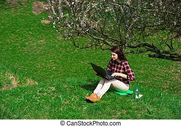 若い 女の子, ∥で∥, 電話, 中に, ∥, nature04