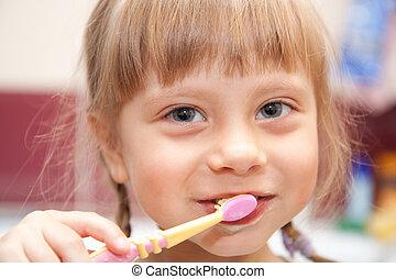 若い 女の子, ブラシをかけること, 彼女, 歯