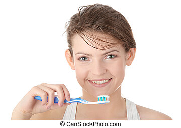 若い 女の子, ブラシをかけること, 彼女, 歯, 幸福に