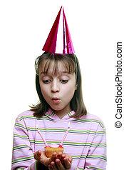 若い 女の子, 楽しむ, a, パーティー
