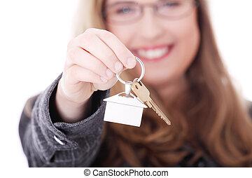 若い, 女性実業家, ∥で∥, 家のキー, 中に, 手