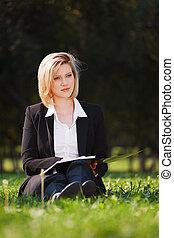 若い, 女性実業家, ∥で∥, a, フォルダー