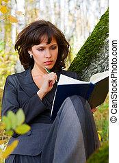 若い, 女性実業家, ∥で∥, a, 本