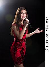 若い, 女性, スピーカー, 中に, 赤いドレス