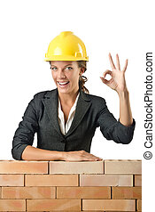 若い, 女性, 建築者, 近くに, れんがの壁