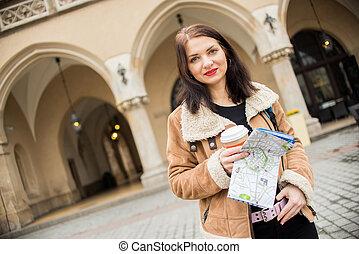若い, 女性, 観光客