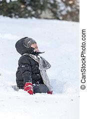 若い, 子供, 叫ぶこと, 上に, 雪
