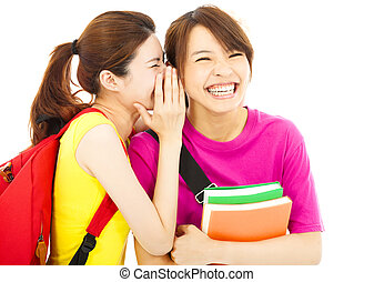 若い, 学生, に話すこと, 彼の, 友人, ∥で∥, 幸せ, 表現