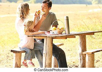 若い 家族, ピクニックをする, 中に, 自然