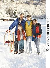 若い 家族, 地位, 中に, 雪が多い, 風景, 保有物, そり