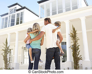 若い 家族, 地位, 外, dream 家