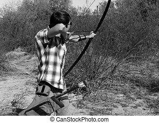若い, 射撃, 男の子, 弓, arrow.