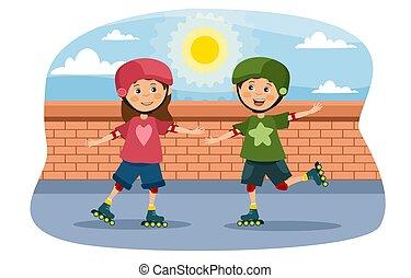 若い, 屋外で, 女の子, ローラースケート, 男の子
