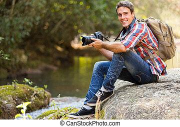 若い, 山の谷, カメラマン, 休む