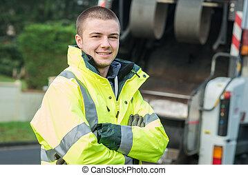 若い, 市の, ごみ収集人, 近くに, ごみ収集車