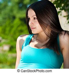 若い, 幸せな女性, 休む, によって, 川