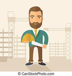 働き者, 若い, 建設, 保有物, 帽...