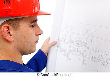 若い, 建設, 計画, エンジニア, 測量