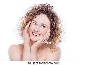 若い, 微笑の 女性, ∥で∥, 巻き毛の髪, 肖像画, 白