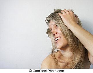若い, 微笑の 女性, ∥で∥, 長い間, 美しい, ブロンドの髪