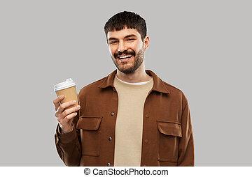 若い, 微笑, コーヒー, テークアウト, カップ, 人