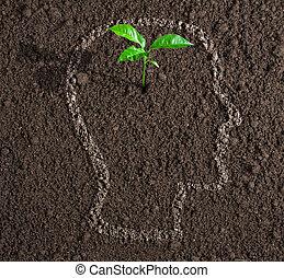 若い, 成長, の, 考え, の の中, 人間の頭, 輪郭, 上に, 土壌, 概念