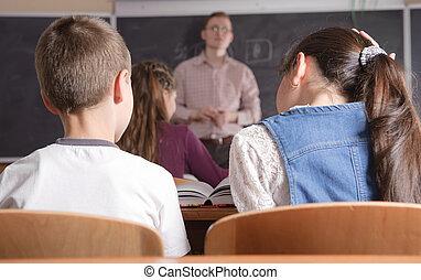 若い, 教師, の前, クラス