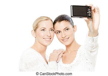 若い, 映像, 取得, 2人の女性たち