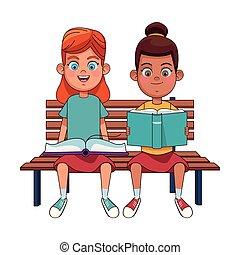 若い, 本, 女の子, 読書, 2
