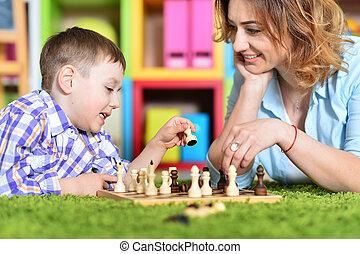 若い, 母親遊び, 息子