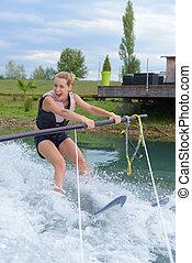 若い, 水, 勉強, 女の子, スキー, 幸せ