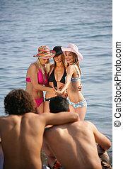 若い, 浜, グループ, 人々