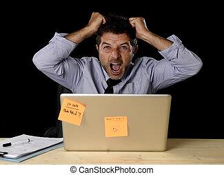 若い, 狂気, ストレスがたまっている実業家, 叫ぶこと, 絶望的, 仕事, 中に, ストレス, ∥で∥,...