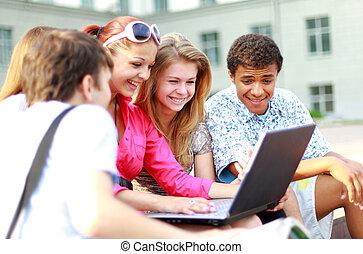 若い, 生徒, 並ばれる, ∥ために∥, a, 肖像画