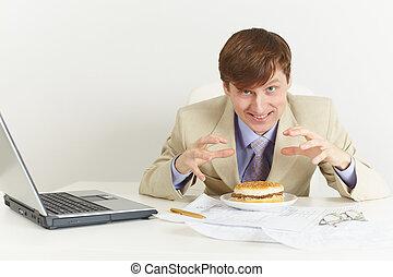 若い, 空腹, 人, ある, 行く, 食べるため, a, サンドイッチ