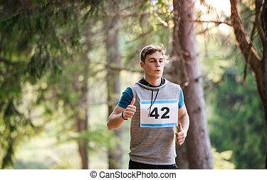 若い, 競争, 動くこと, 光景, nature., 人, 前部, レース