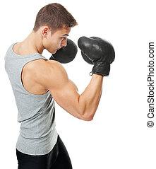 若い, 筋肉, ボクサー, 肖像画, 光景, 側, 人
