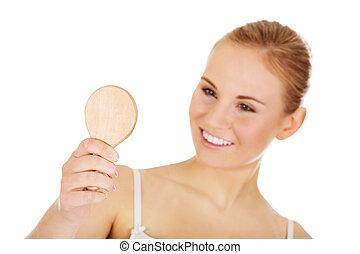 若い, 美しい女性, ちょっと立ち寄る, a, 鏡