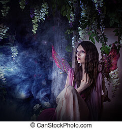 若い, 美しい女性, 中に, ∥, イメージ, の, 妖精, マジック, 暗い, 森林
