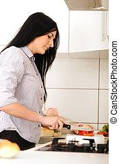 若い, 美しい女性, 中に, 台所